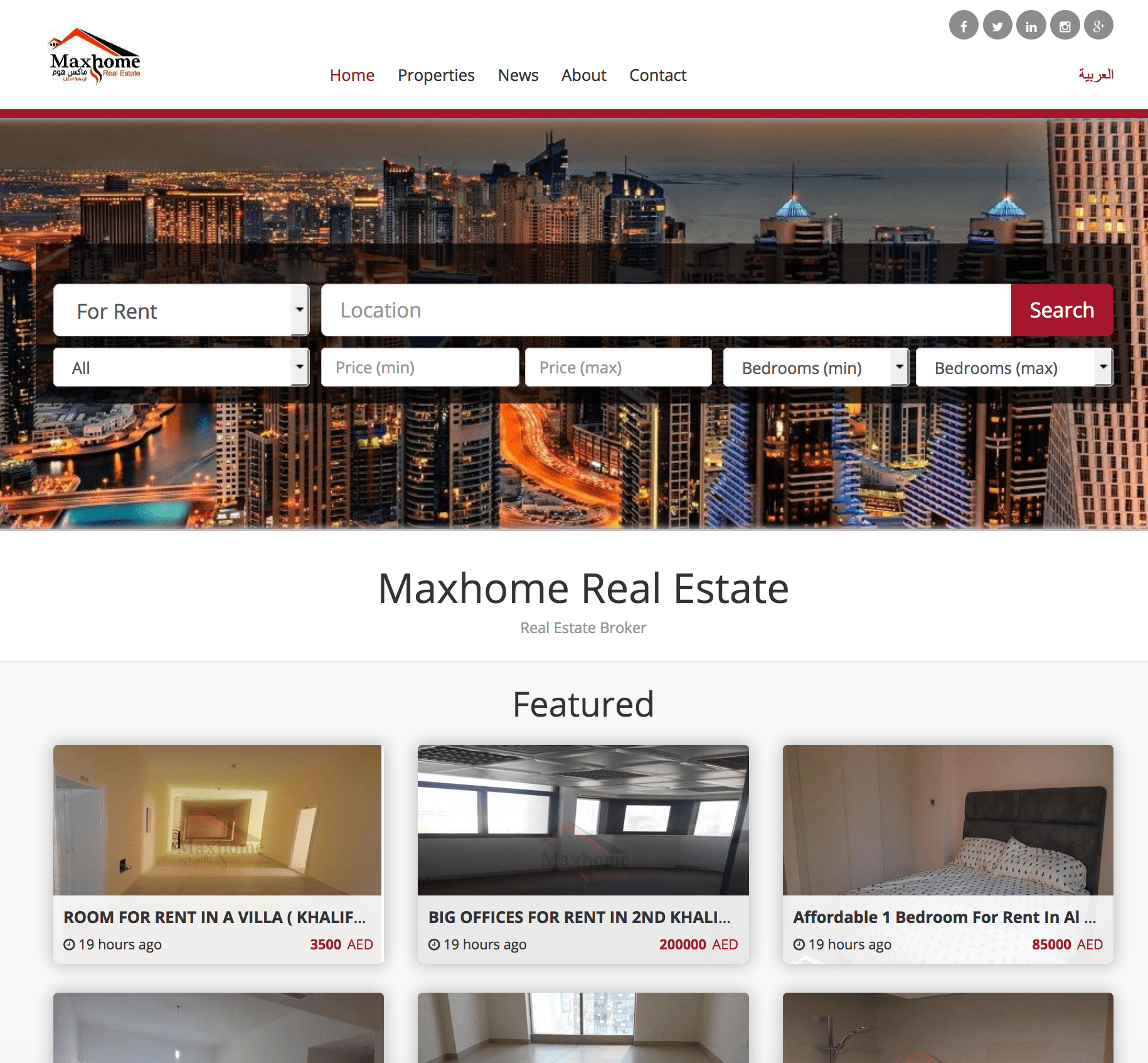 Example of a Properties Website to sell and Buy Properties in UAE